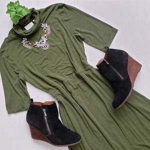 dtt:twa Coreyell Turtleneck Green Jersey Dress XXS